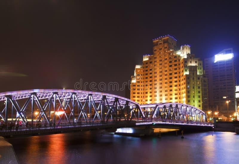 Waibaidu桥梁,上海,中国 免版税库存照片