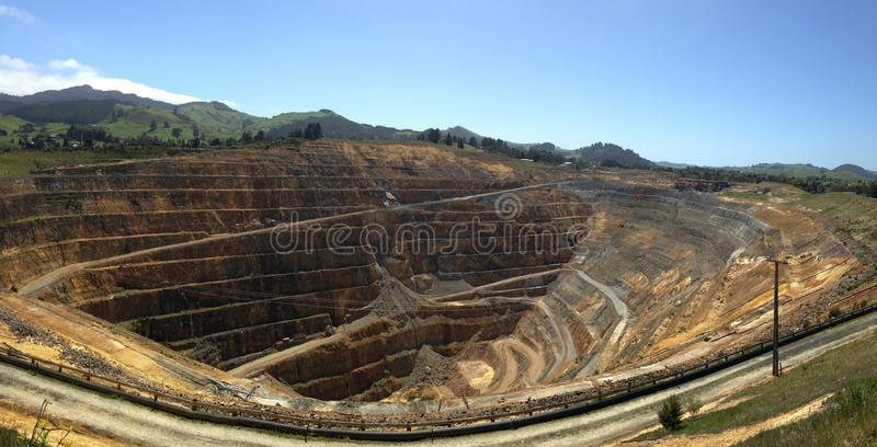Waihi, old gold mine open pit. stock images