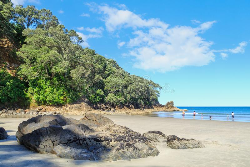 Waihi strand, Nya Zeeland, på varma sommars dag fotografering för bildbyråer