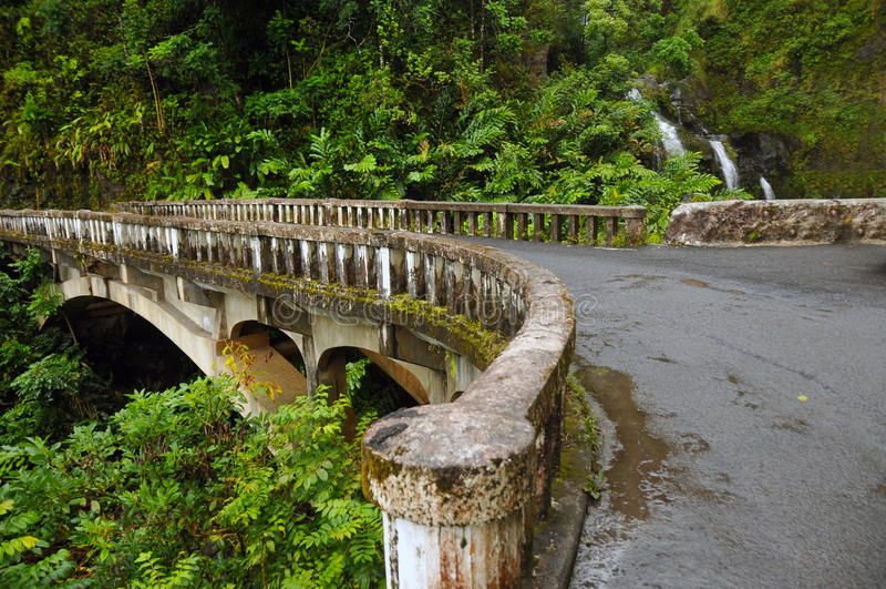 Waikani Spadać Od Mosta, Maui, Hawaje zdjęcie royalty free