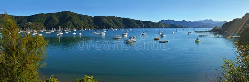Waikawa海湾清早全景,马尔伯勒声音,新西兰 免版税库存照片