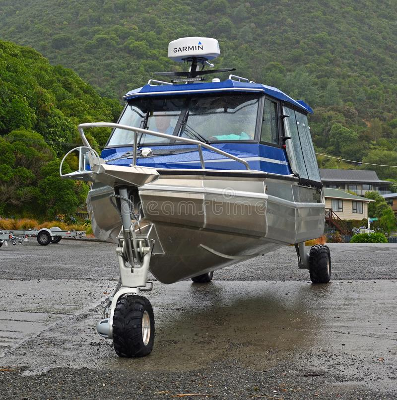Amphibious Boat Drives into The Sea in Marlborough Sounds, NZ royalty free stock photos