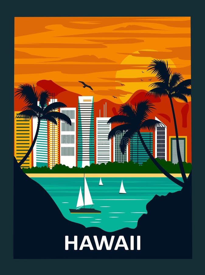 waikiki Гавайских островов пляжа иллюстрация вектора