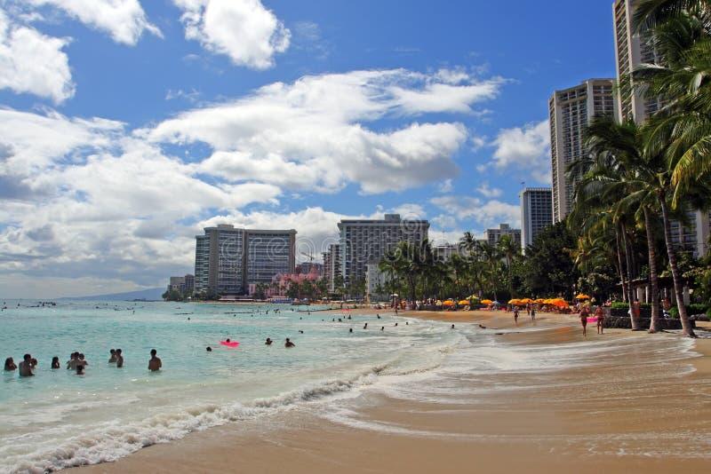 waikiki Гавайских островов honolulu oahu пляжа стоковое изображение rf