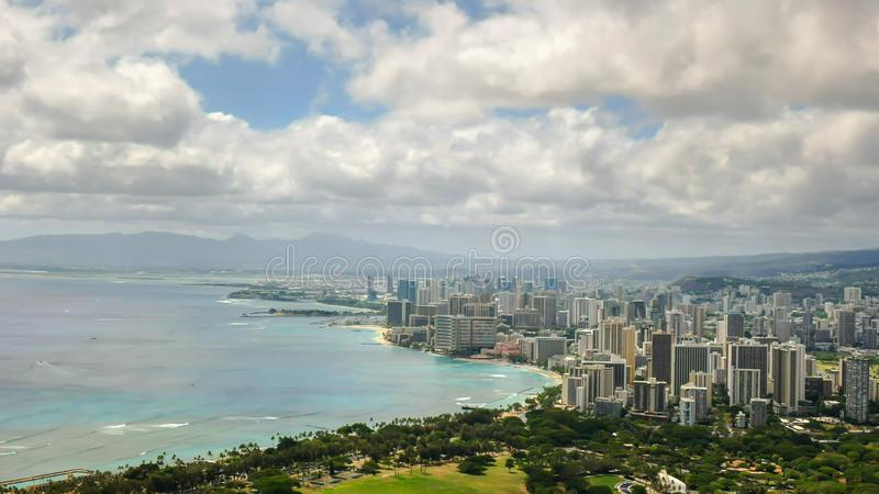 Waikiki as seen from the top of diamond head royalty free stock photo