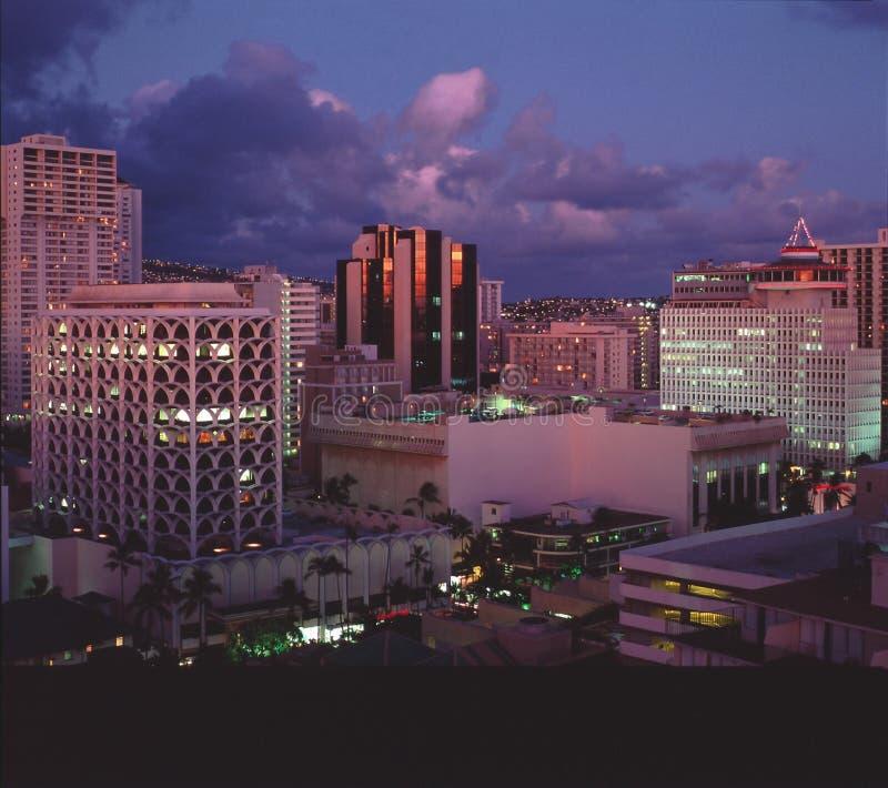 Waikiki Au Crépuscule Photographie stock