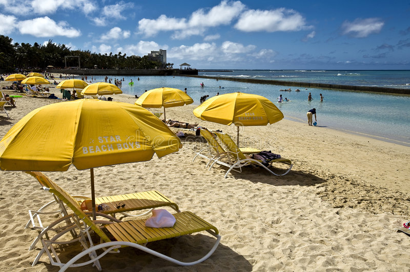 Waikiki beach. Famous Waikiki beach is one of my dream, and this dream came true last spring royalty free stock photo