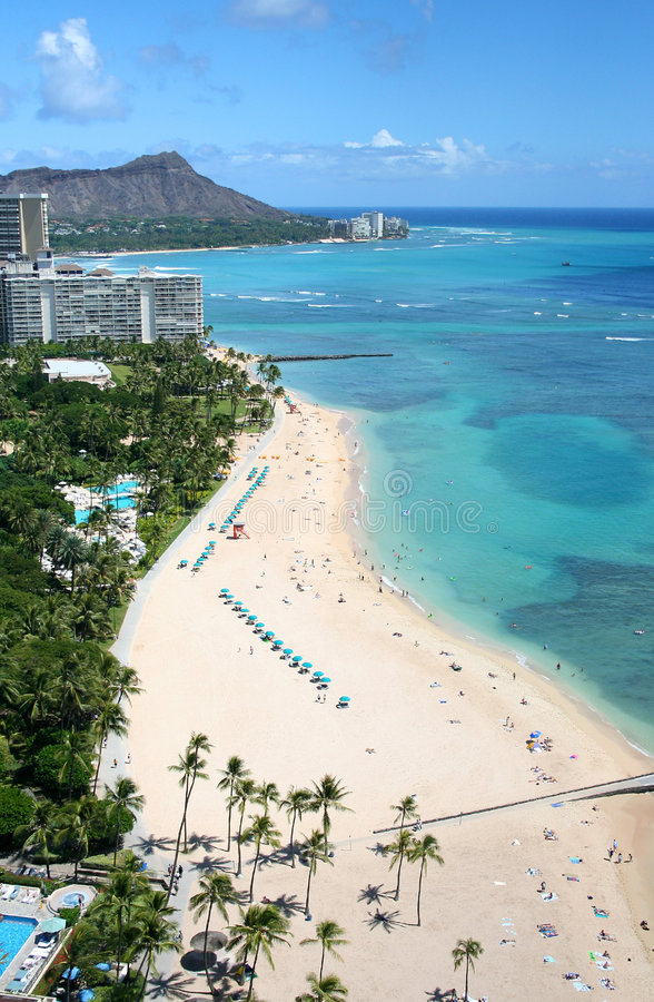 Waikiki Beach. Photograph of the famous Waikiki beach in Hawaii with its white sand and Diamond head in the background stock photos