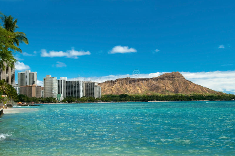 Download Waikiki Beach With Azure Water In Hawaii With Diamond Head Stock Photo - Image of clouds, palms: 31509916