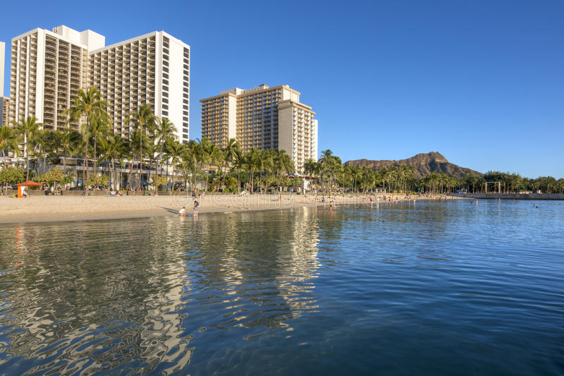 Waikiki Beach and Diamond Head crater royalty free stock photo
