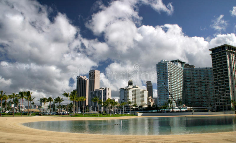 Download Waikiki Beach stock image. Image of skyline, horizontal - 31476293