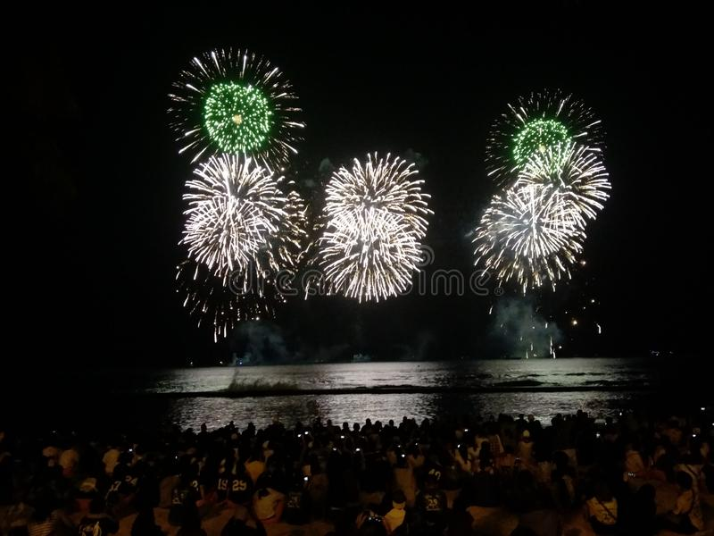 Waikiki Beach Fireworks stock images