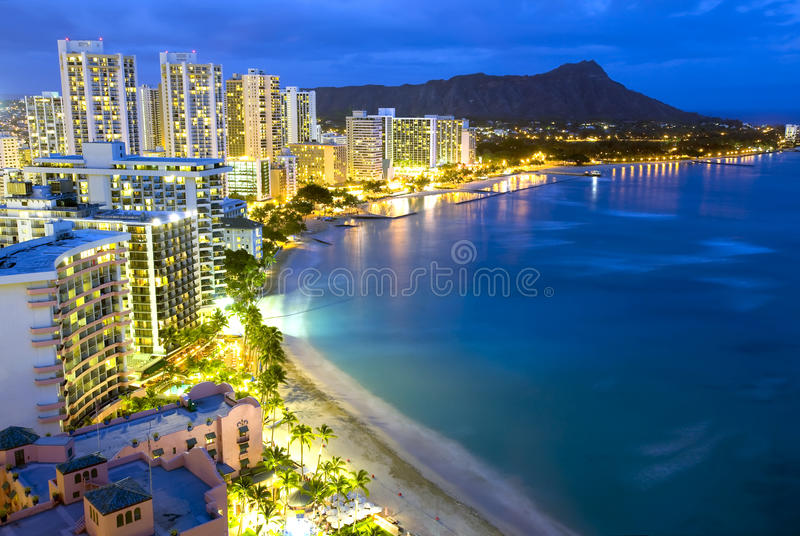 Waikiki beach in Honolulu, Hawaii. royalty free stock photos
