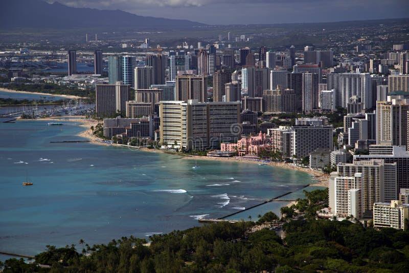 Waikiki Beach - Honolulu, Hawaii. A view of Waikiki Beach from atop Diamond Head Crater. (Honolulu, Hawaii royalty free stock photo
