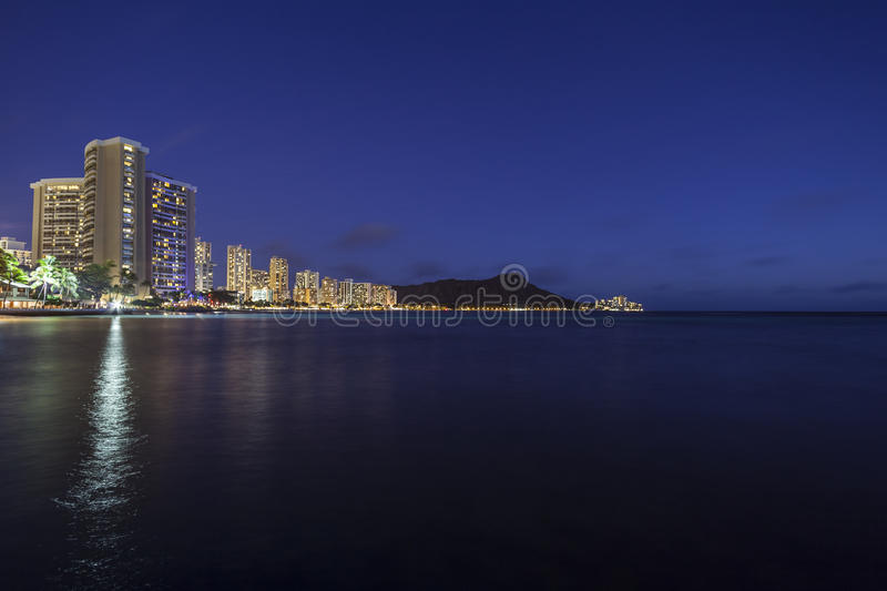 Waikiki Beach Honolulu Hawaii Night stock images
