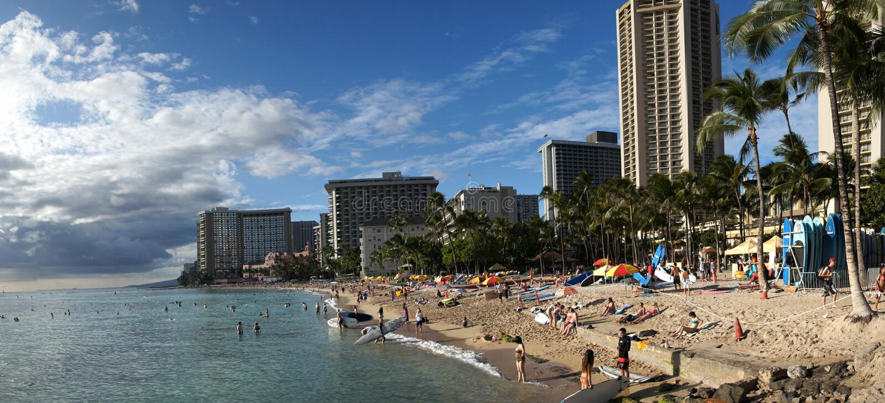 Waikiki Beach Honolulu. stock photo