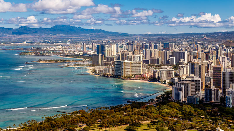 Waikiki Beach Honolulu. View of Waikiki Beach and Honolulu Skyline from Diamond Head royalty free stock image