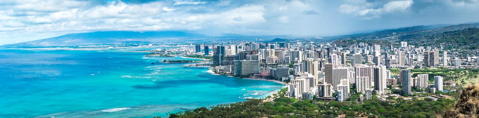 Waikiki Beach & Honolulu stock image