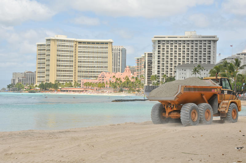 Waikiki Beach Maintenance Project dump truck royalty free stock image