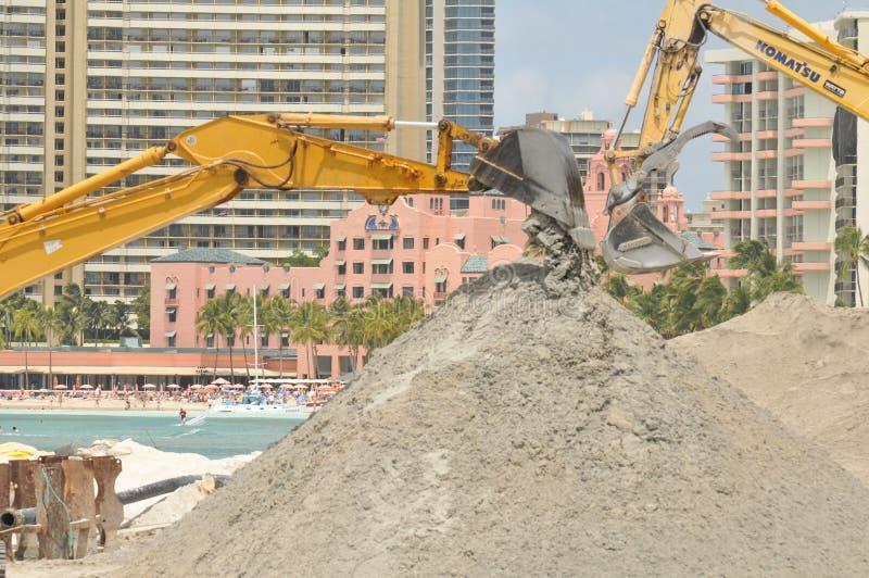 Waikiki Beach Maintenance Project heavy equipment stock photos