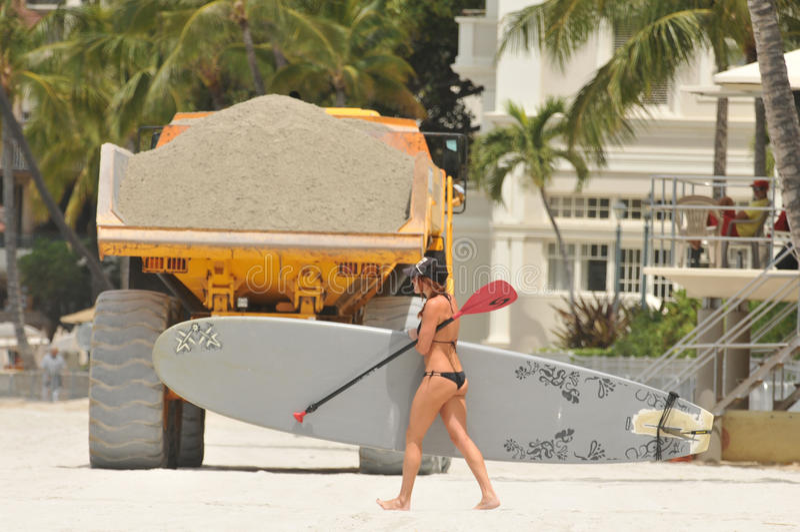 Waikiki Beach Maintenance Project moving sand stock photos