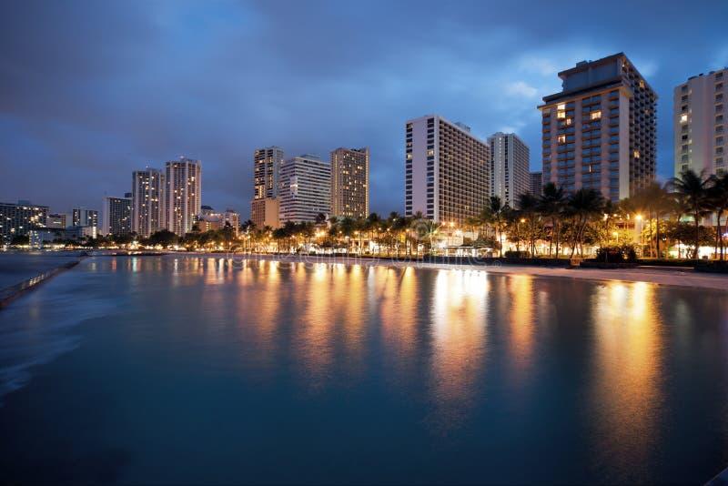 Download Waikiki Beach At Night Stock Images - Image: 12370114
