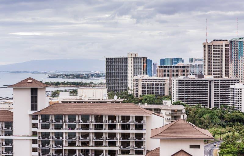 Waikiki Clouds and Coast Post Hurricane Lane royalty free stock image