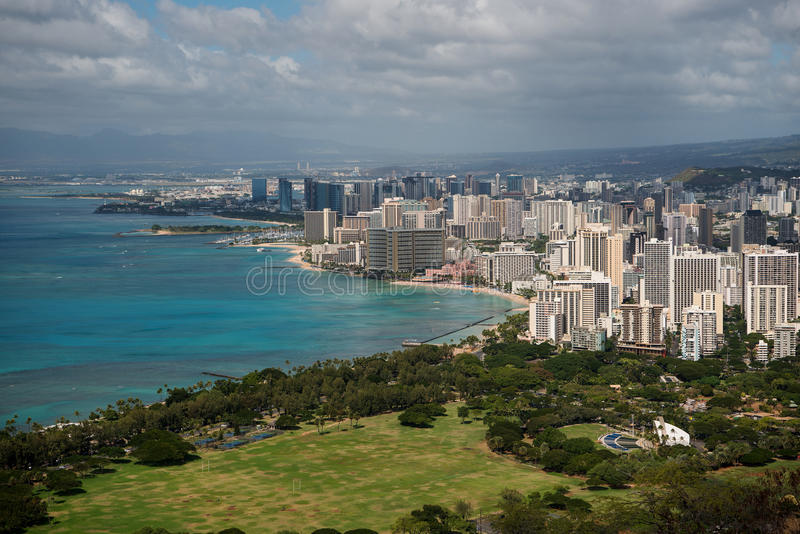 Waikiki come visto da Diamond Head immagini stock libere da diritti