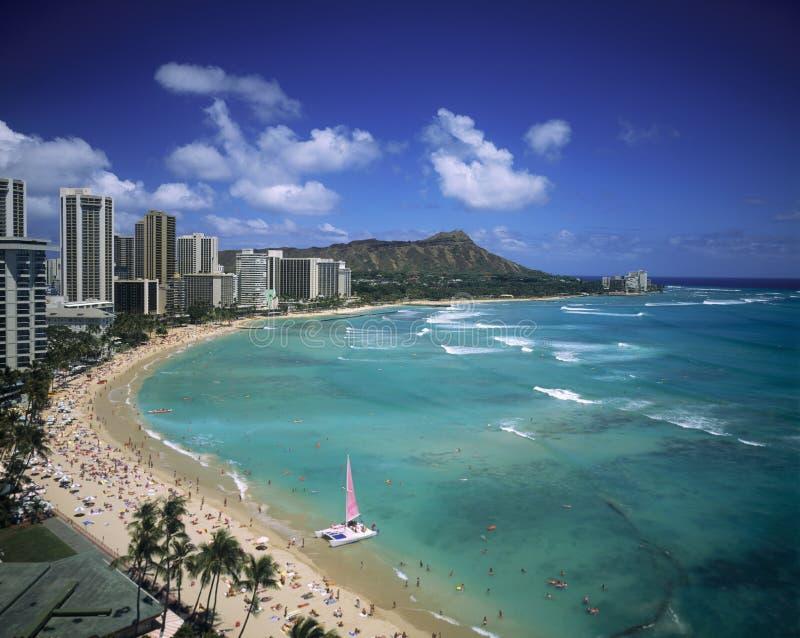waikiki dell'Hawai della spiaggia fotografia stock libera da diritti