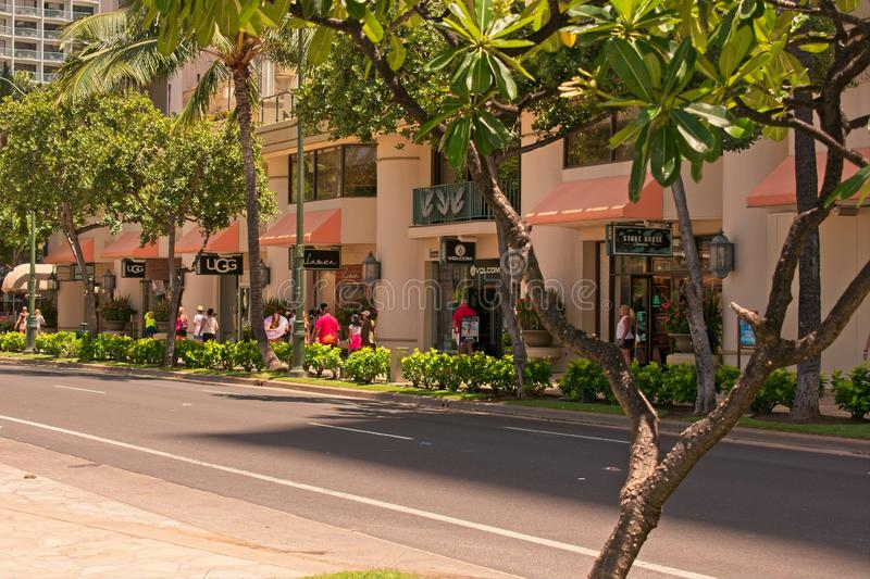 Shopping on Kalakaua Ave in Waikiki Beach, Hawaii stock photos