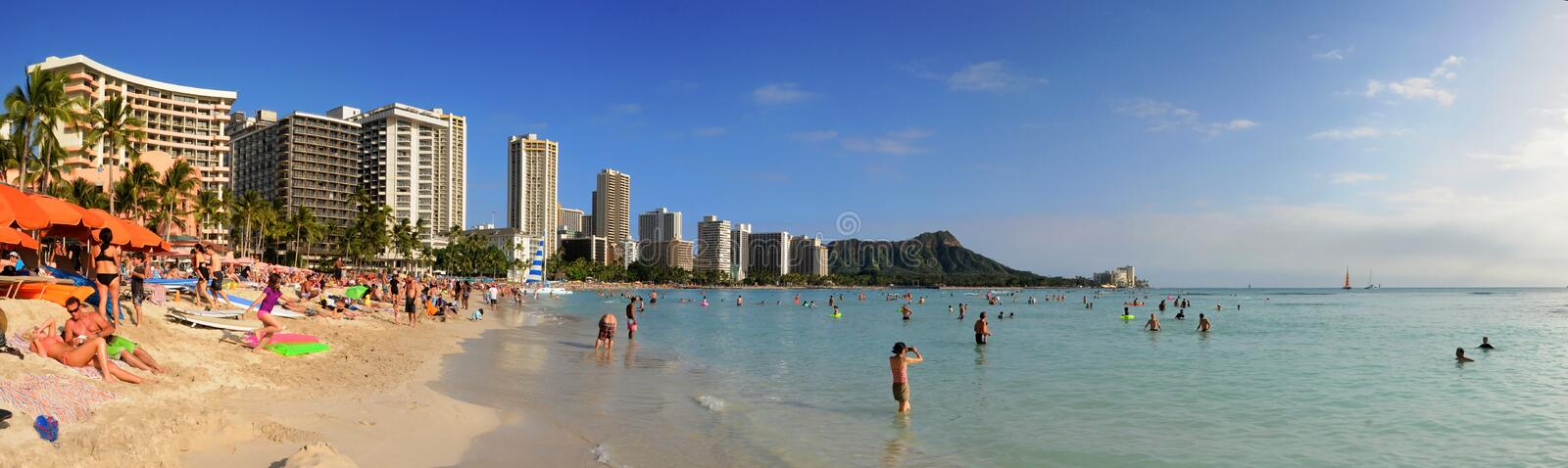 Waikiki Honolulu Hawaii. Panorama of Waikiki Beach Honolulu Hawaii stock photos