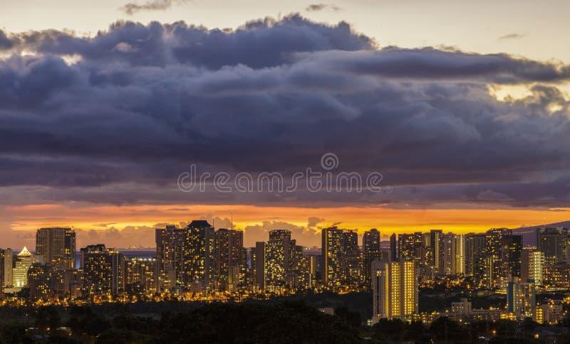 Waikiki and Honolulu Lights. The lights of Waikiki and Honolulu at dusk on the island of Oahu, Hawaii stock photos