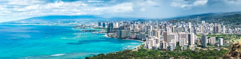Waikiki Honolulu & plaża obraz stock