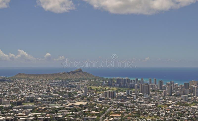 Waikiki i diament głowa od Tantalus obrazy stock