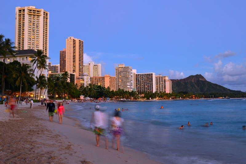 Waikiki no crepúsculo fotografia de stock royalty free