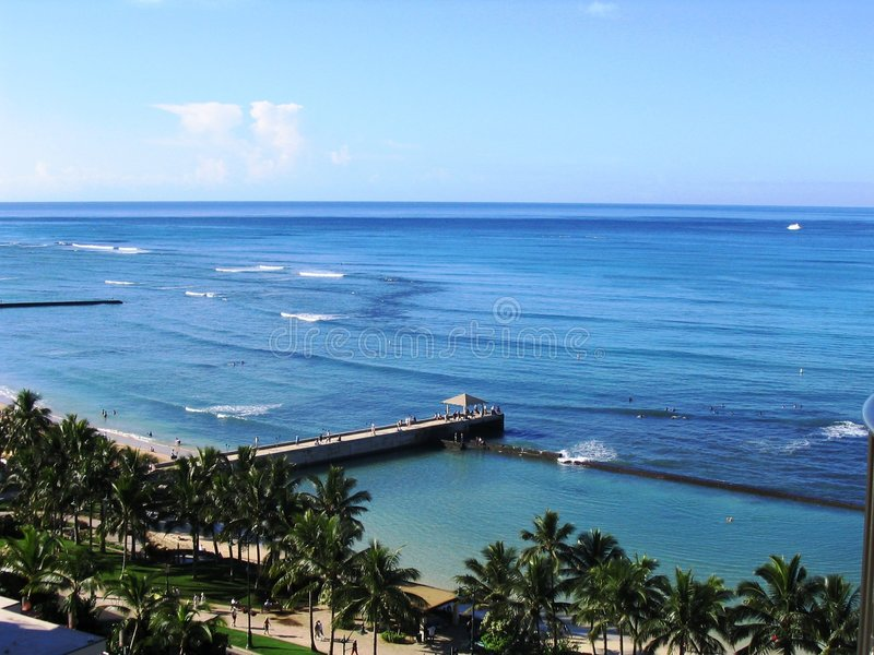 Waikiki Pier stock photo