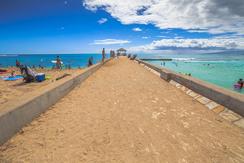 Waikiki Pier Oahu lizenzfreies stockfoto