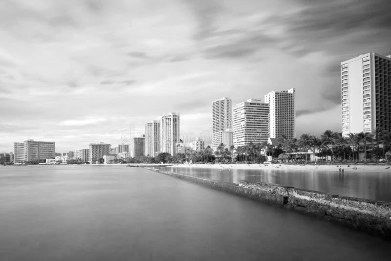 Waikiki plaża i hotele, długi ujawnienie zdjęcie royalty free