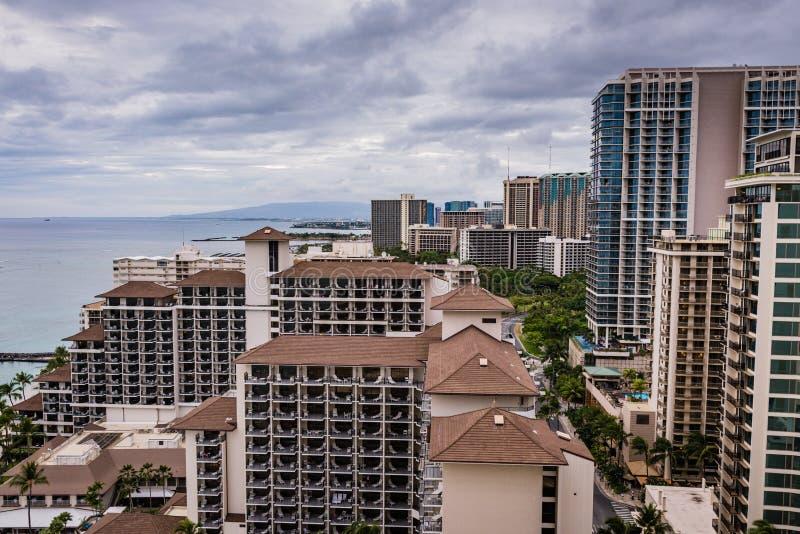 Waikiki Skyscrapers On Coast Post Hurricane Lane stock image