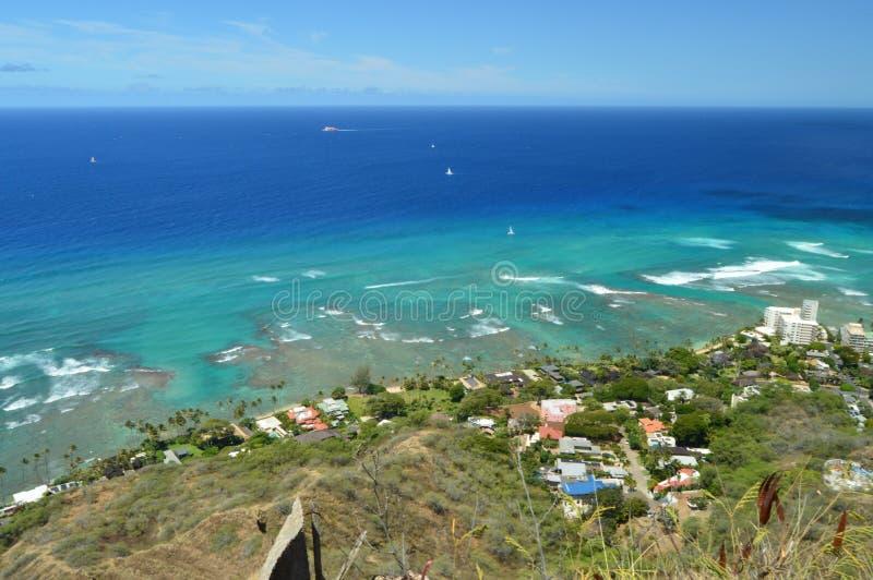 Waikiki som ses från Diamond Head arkivfoton