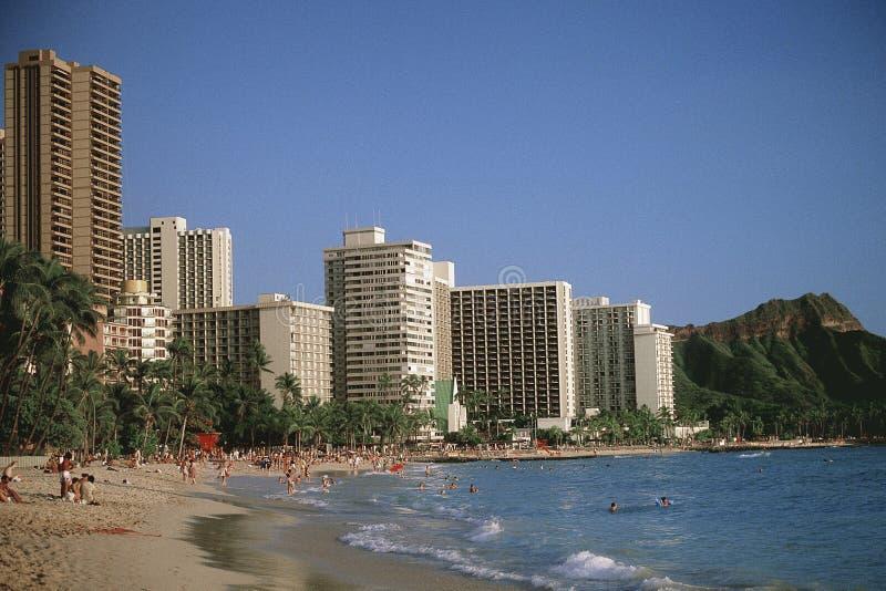 Waikiki strand fotografering för bildbyråer