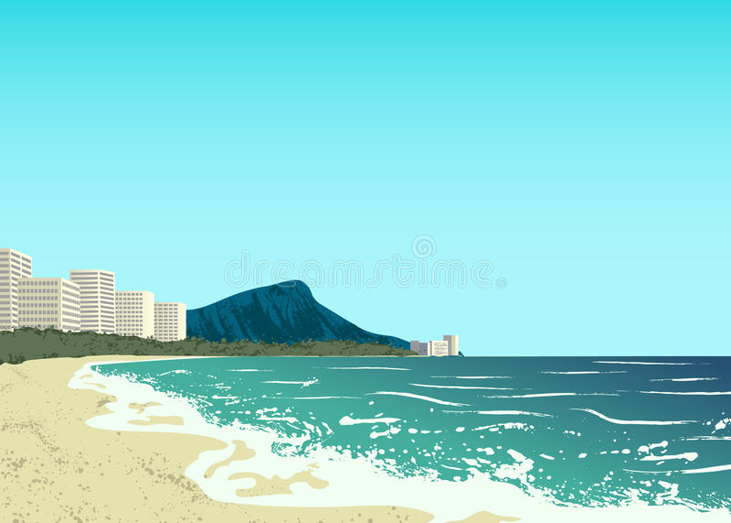 Waikiki strand av den Oahu ön vektor illustrationer