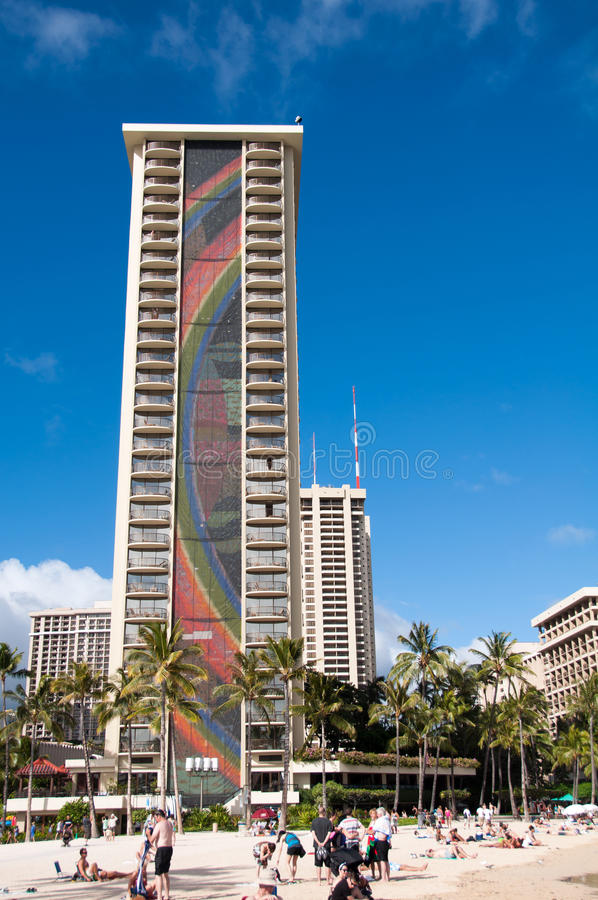 Waikiki strand - Hawaii royaltyfri fotografi