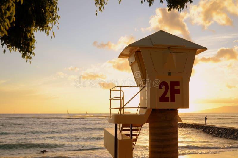 Waikiki Strand-Leibwächter-Station stockbilder