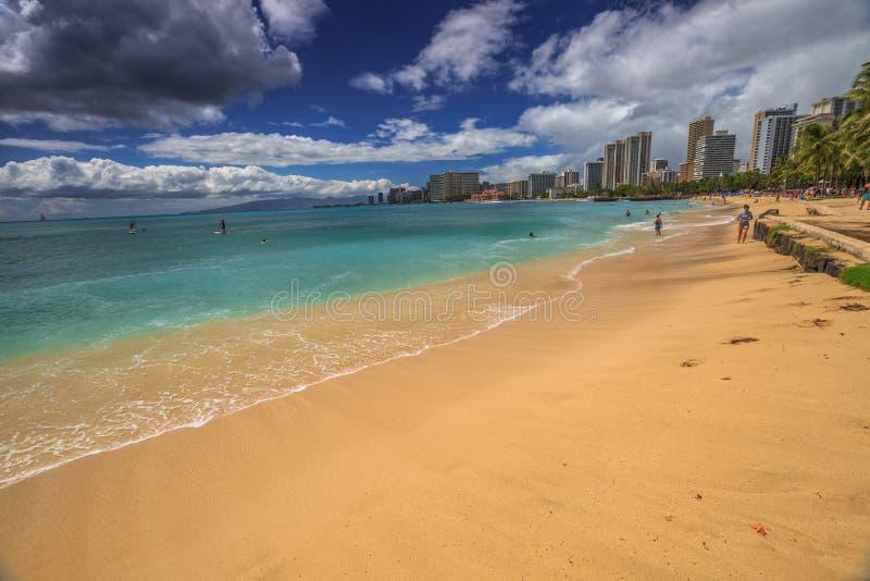 Waikiki strandhorisont royaltyfri foto