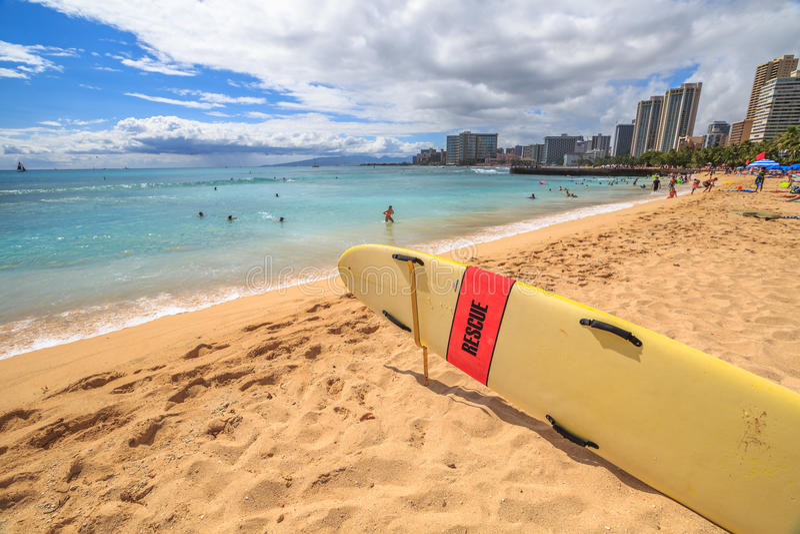Waikiki strandhorisont royaltyfria foton