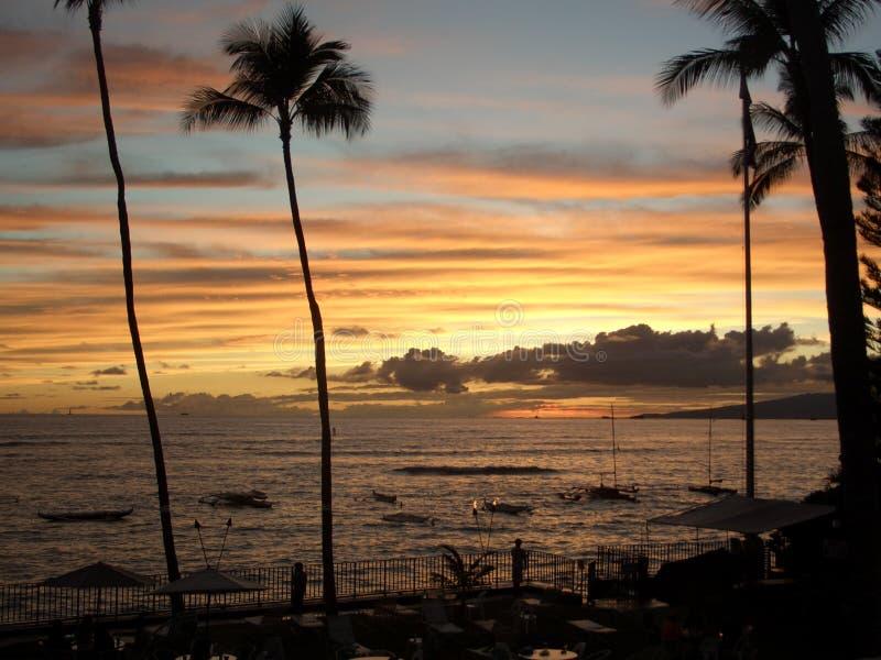 Waikiki Sunset Royalty Free Stock Image