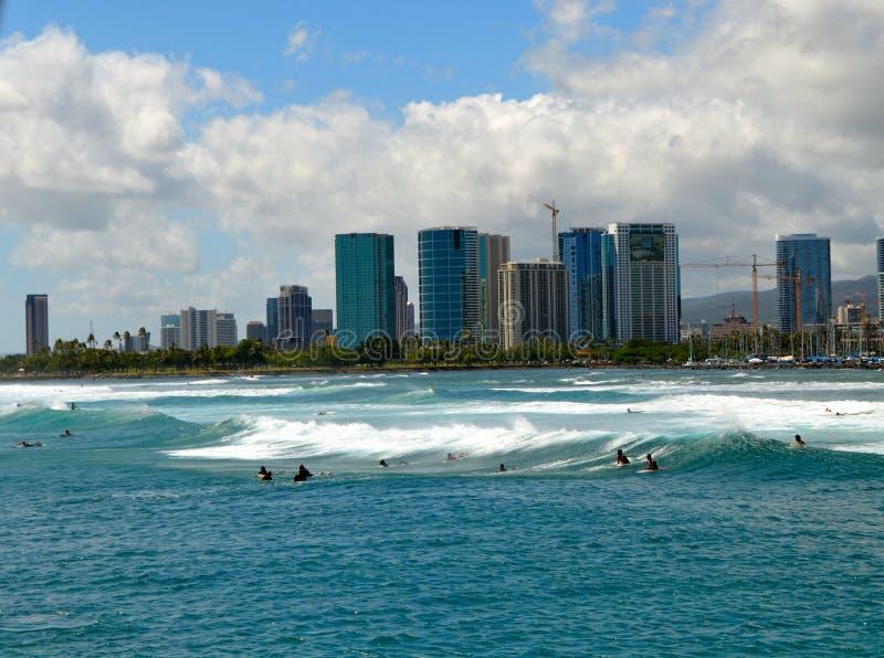 Waikiki surfando fotos de stock