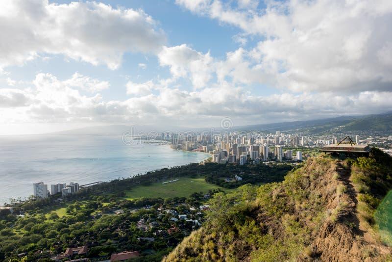 Waikiki view from Diamond Head. Skyline view of Waikiki Beach and Honolulu from Diamond Head in Oahu, Hawaii stock images
