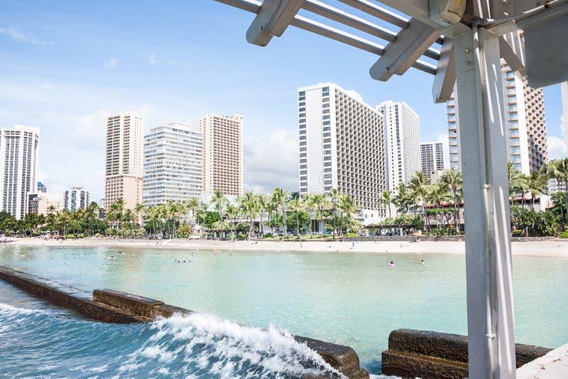 Waikiki vom Pier lizenzfreies stockbild
